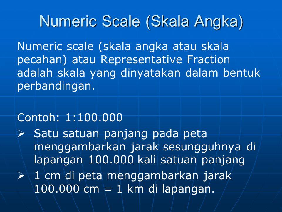 Graphic Scale (Skala Grafis) Graphic scale (skala grafis atau skala batang), dinyatakan dalam suatu garis lurus yang dibagi menjadi beberapa bagian yang sama panjang dan pada garis tersebut dicantumkan ukuran jarak sesungguhnya di lapangan dalam satuan tertentu, misalnya meter, kilometer, mil, dsb.