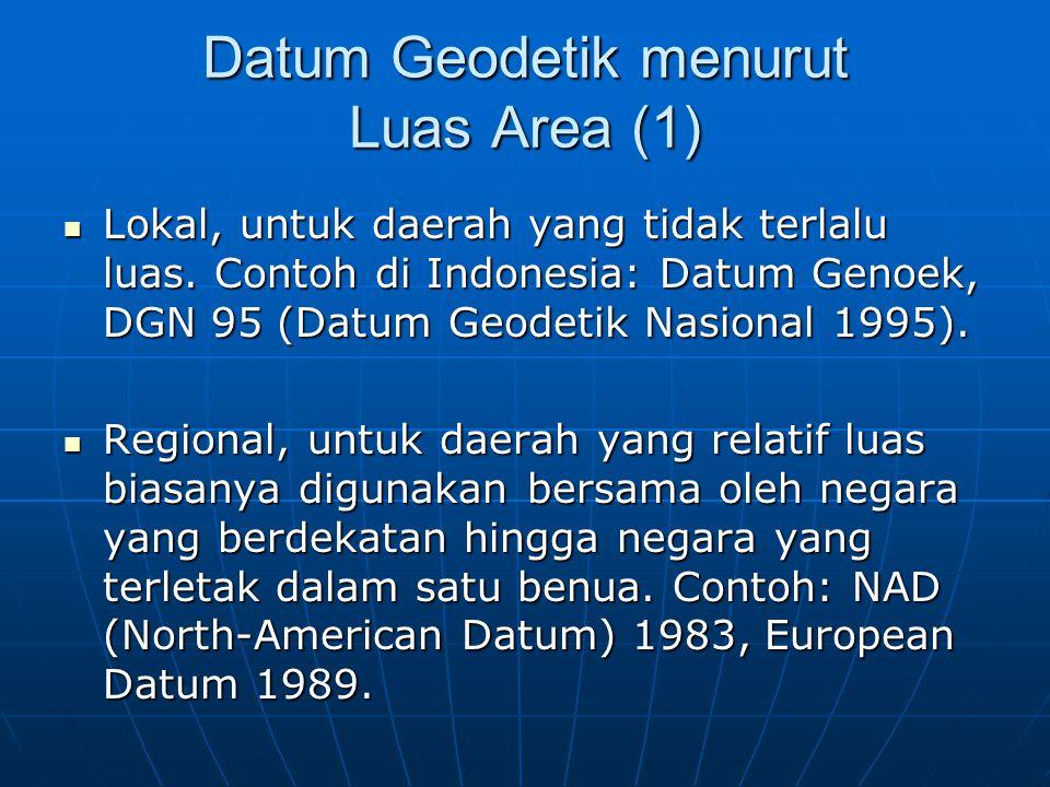 Datum Geodetik menurut Luas Area (2)  Global, untuk seluruh permukaaan bumi, yaitu WGS (World Geodetic System).
