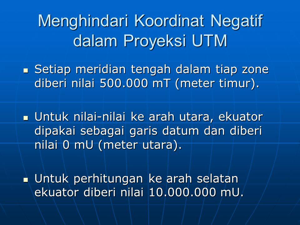Menghindari Koordinat Negatif dalam Proyeksi UTM  Setiap meridian tengah dalam tiap zone diberi nilai 500.000 mT (meter timur).  Untuk nilai-nilai k