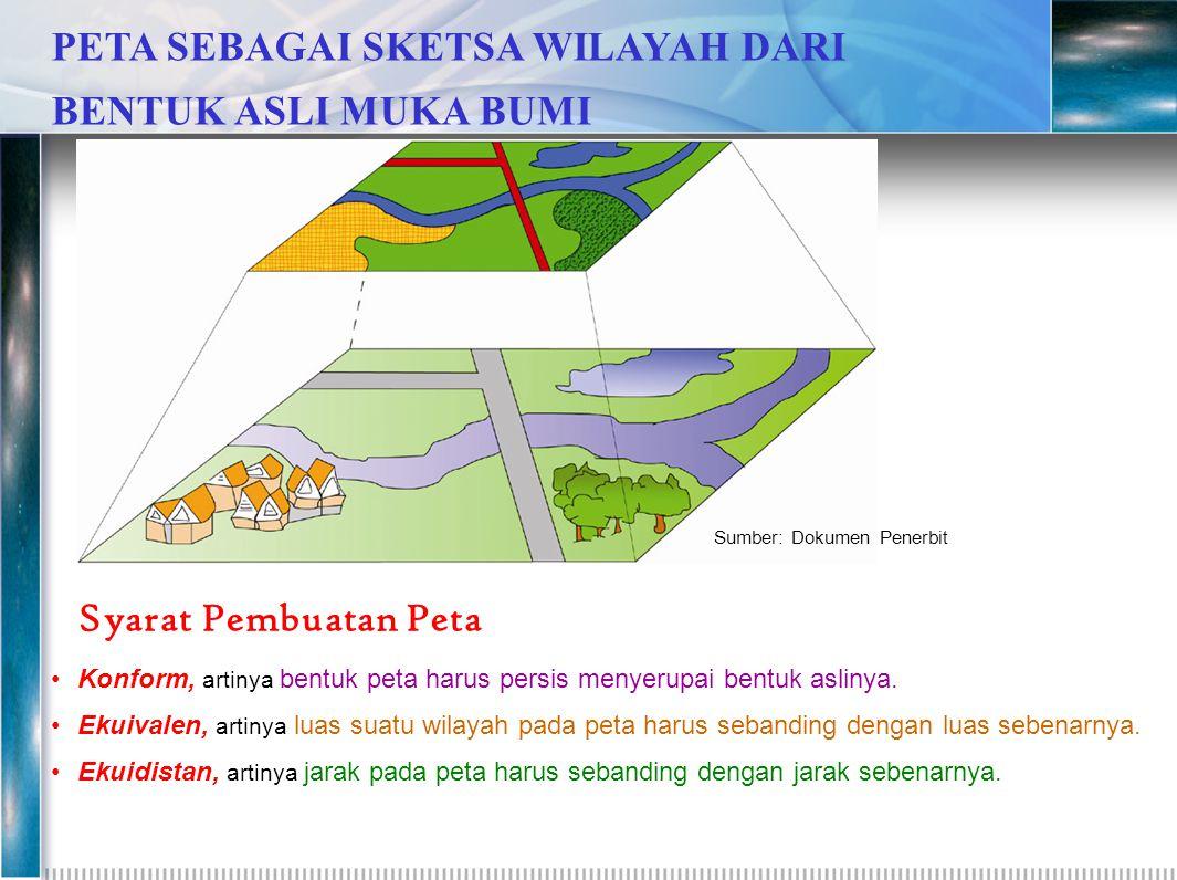 Syarat Pembuatan Peta •K•Konform, artinya bentuk peta harus persis menyerupai bentuk aslinya. •E•Ekuivalen, artinya luas suatu wilayah pada peta harus
