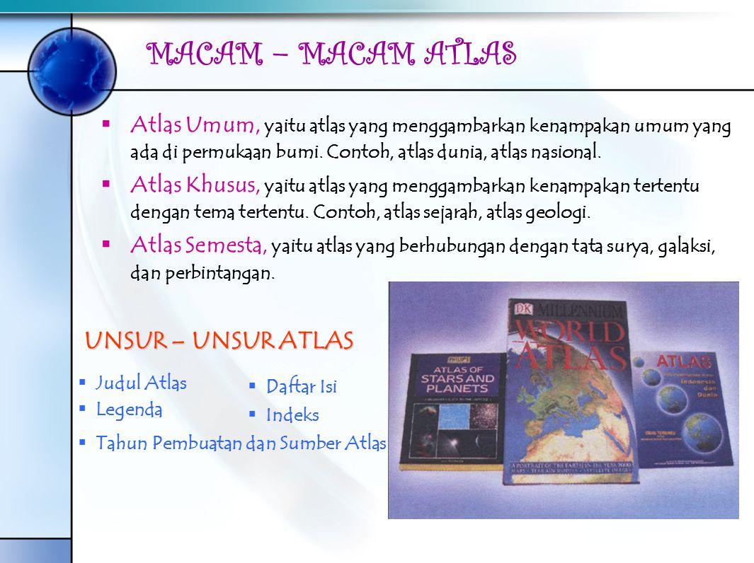 MACAM – MACAM ATLAS AAtlas Umum, yaitu atlas yang menggambarkan kenampakan umum yang ada di permukaan bumi. Contoh, atlas dunia, atlas nasional. A
