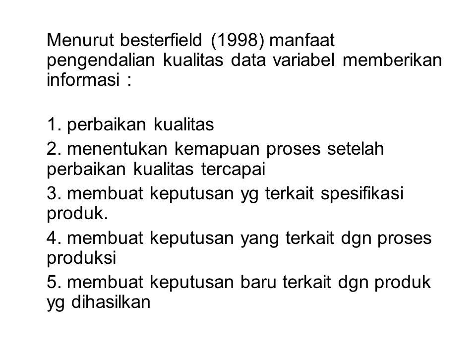 Langkah-langkah control chart data variabel (besterfield, 1998) 1.Pemilihan karakteristik kualitas (berat, panjang, waktu, dst) 2.Pemilihan sub kelompok 3.Pengumpulan data 4.Penentuan garis pusat (center line) dan control limits 5.Penyusunan revisi terhadap garis pusat dan batas-batas pengendalian 6.Interpretasi terhadap pencapaian tujuan