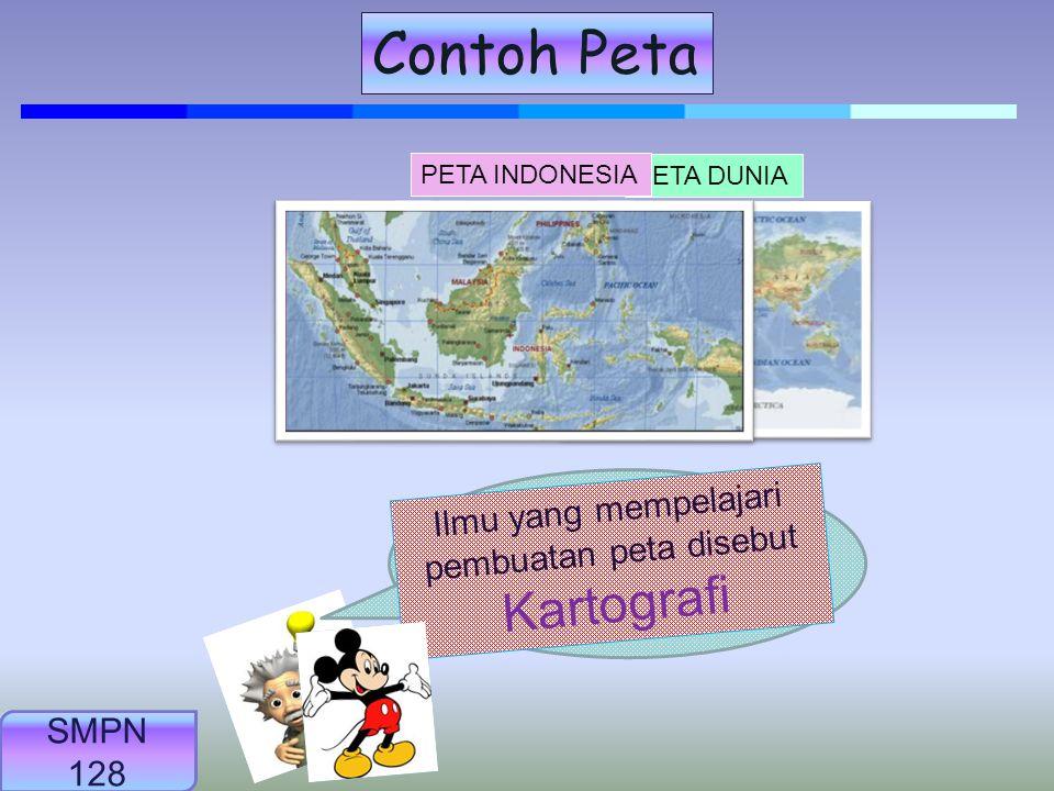 Peta adalah: gambaran sebagian atau seluruh permukaan bumi dengan berbagai kenampakannya yang digambarkan secara konvensional di bidang datar yang dip