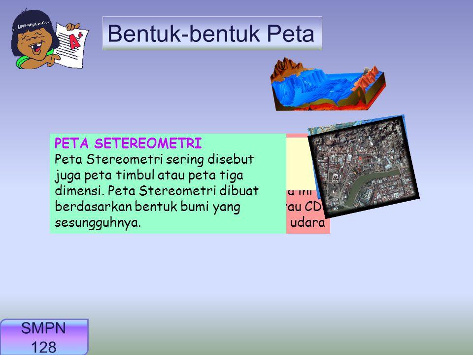 Syarat-Syarat yang Wajib Ada Pada Peta 1. Judul peta 2. Skala peta 3. Lambang Peta : jalan, sungai, ibu kota, pelabuhan, batas wiayah, dll 4. Garis pi