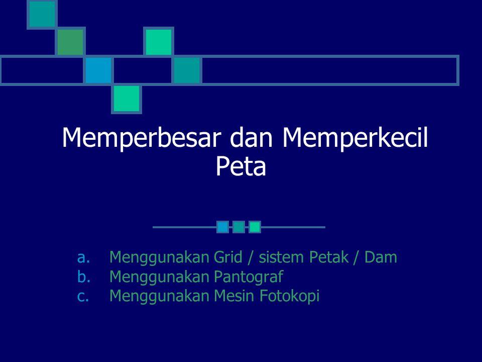 Memperbesar dan Memperkecil Peta a.Menggunakan Grid / sistem Petak / Dam b.Menggunakan Pantograf c.Menggunakan Mesin Fotokopi