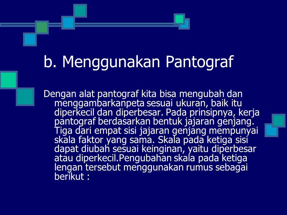 b. Menggunakan Pantograf Dengan alat pantograf kita bisa mengubah dan menggambarkanpeta sesuai ukuran, baik itu diperkecil dan diperbesar. Pada prinsi