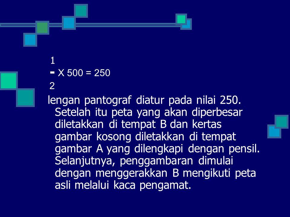 1 ▬ X 500 = 250 2 lengan pantograf diatur pada nilai 250. Setelah itu peta yang akan diperbesar diletakkan di tempat B dan kertas gambar kosong dileta