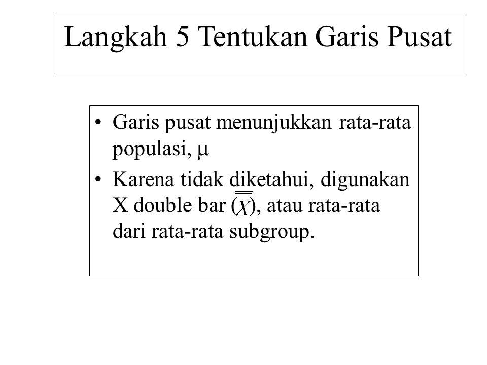 Langkah 5 Tentukan Garis Pusat •Garis pusat menunjukkan rata-rata populasi,  •Karena tidak diketahui, digunakan X double bar ( ), atau rata-rata dari