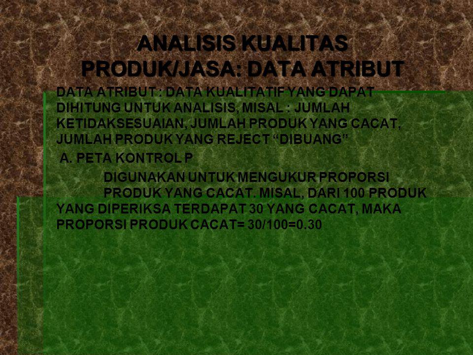 ANALISIS KUALITAS PRODUK/JASA: DATA ATRIBUT DATA ATRIBUT : DATA KUALITATIF YANG DAPAT DIHITUNG UNTUK ANALISIS, MISAL : JUMLAH KETIDAKSESUAIAN, JUMLAH PRODUK YANG CACAT, JUMLAH PRODUK YANG REJECT DIBUANG A.