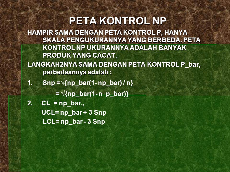 PETA KONTROL NP HAMPIR SAMA DENGAN PETA KONTROL P, HANYA SKALA PENGUKURANNYA YANG BERBEDA.