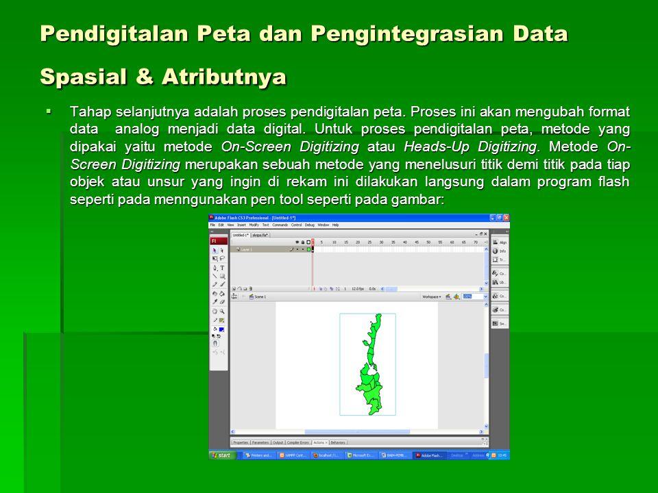 Pendigitalan Peta dan Pengintegrasian Data Spasial & Atributnya  Tahap selanjutnya adalah proses pendigitalan peta. Proses ini akan mengubah format d