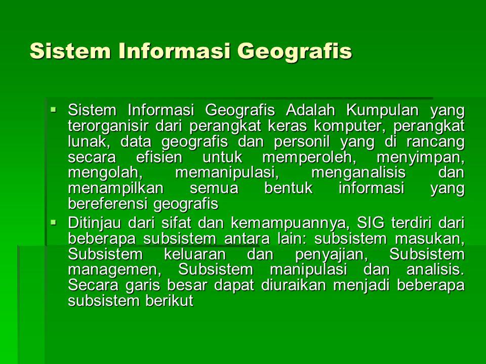 Sistem Informasi Geografis  Sistem Informasi Geografis Adalah Kumpulan yang terorganisir dari perangkat keras komputer, perangkat lunak, data geograf