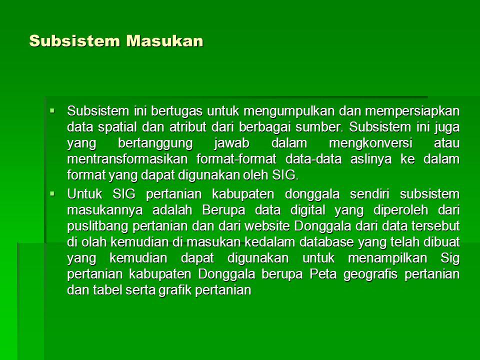 Subsistem Masukan  Subsistem ini bertugas untuk mengumpulkan dan mempersiapkan data spatial dan atribut dari berbagai sumber. Subsistem ini juga yang