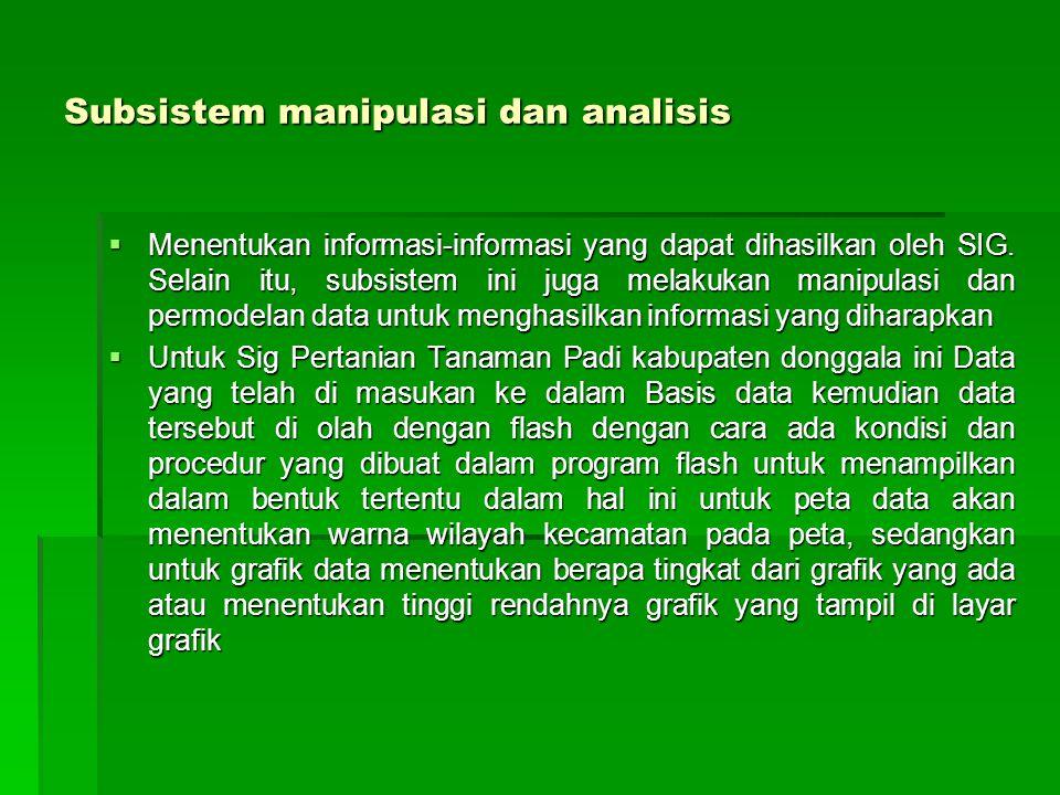 Subsistem manipulasi dan analisis  Menentukan informasi-informasi yang dapat dihasilkan oleh SIG. Selain itu, subsistem ini juga melakukan manipulasi
