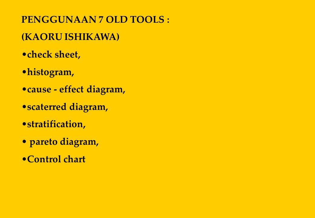 PENGGUNAAN 7 OLD TOOLS : (KAORU ISHIKAWA) •check sheet, •histogram, •cause - effect diagram, •scaterred diagram, •stratification, • pareto diagram, •C