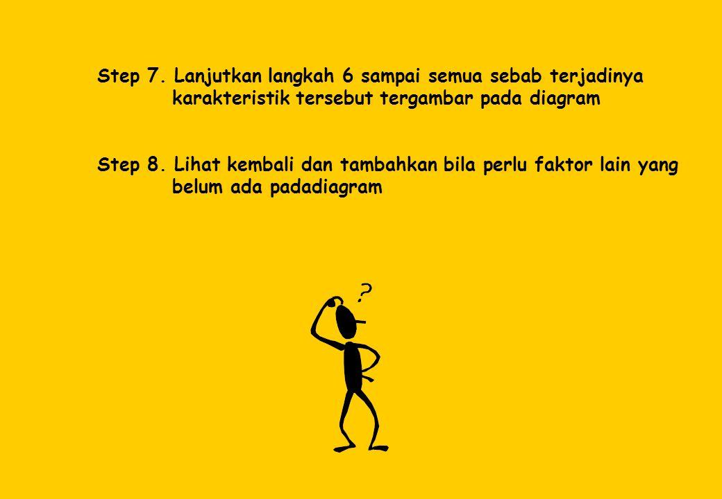 Step 7. Lanjutkan langkah 6 sampai semua sebab terjadinya karakteristik tersebut tergambar pada diagram Step 8. Lihat kembali dan tambahkan bila perlu