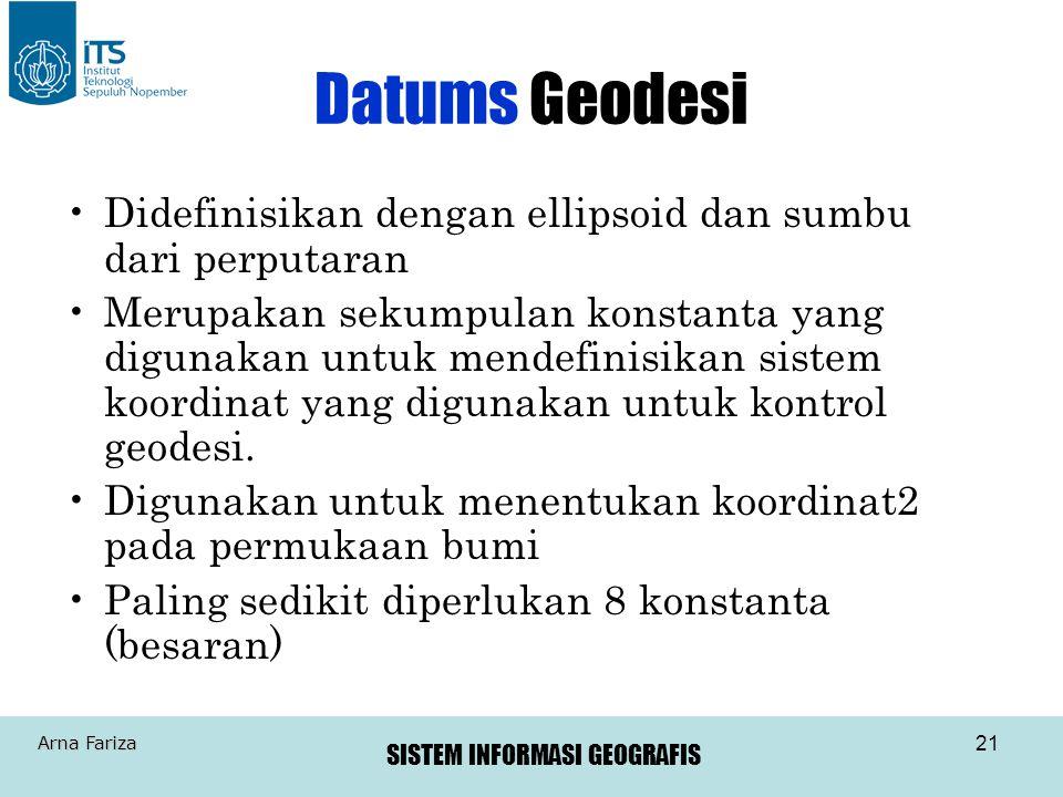 SISTEM INFORMASI GEOGRAFIS Arna Fariza 21 Datums Geodesi •Didefinisikan dengan ellipsoid dan sumbu dari perputaran •Merupakan sekumpulan konstanta yan