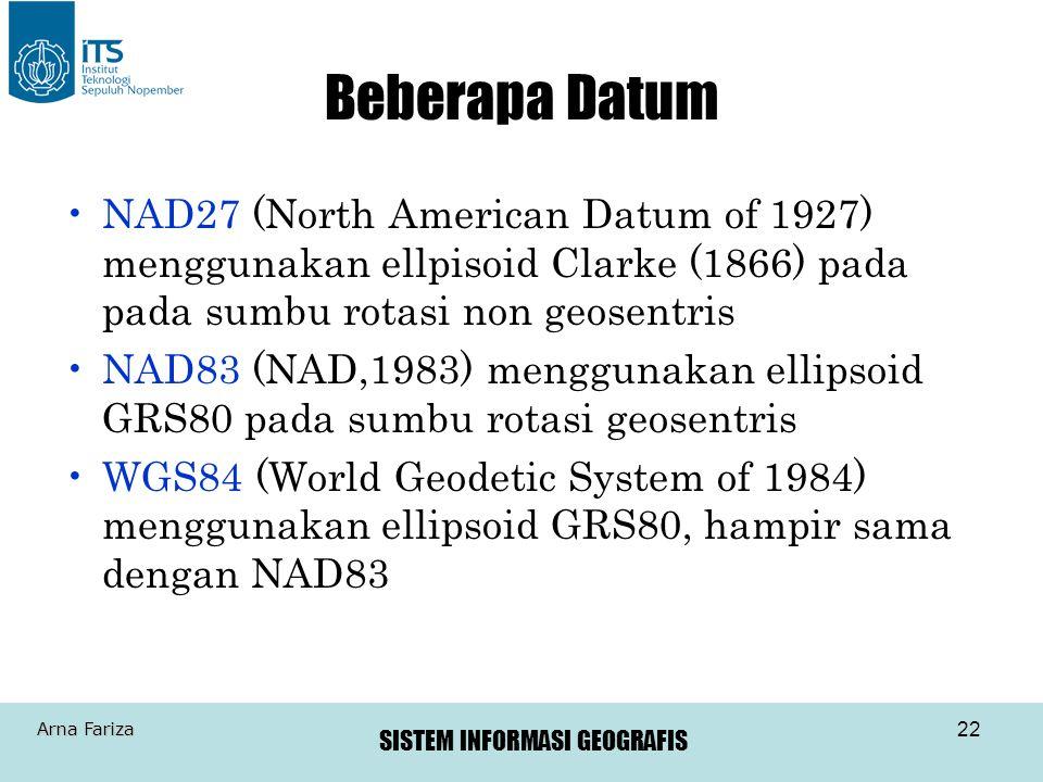 SISTEM INFORMASI GEOGRAFIS Arna Fariza 22 Beberapa Datum •NAD27 (North American Datum of 1927) menggunakan ellpisoid Clarke (1866) pada pada sumbu rot