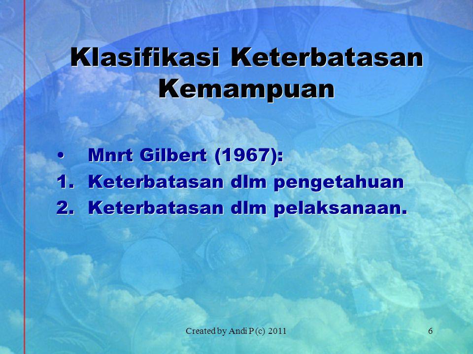 Created by Andi P (c) 20116 Klasifikasi Keterbatasan Kemampuan •Mnrt Gilbert (1967): 1.Keterbatasan dlm pengetahuan 2.Keterbatasan dlm pelaksanaan.
