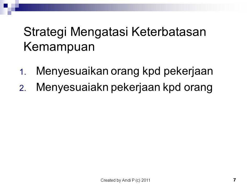Created by Andi P (c) 20117 Strategi Mengatasi Keterbatasan Kemampuan 1.