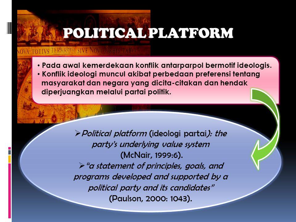 POLITICAL PLATFORM • Pada awal kemerdekaan konflik antarparpol bermotif ideologis.