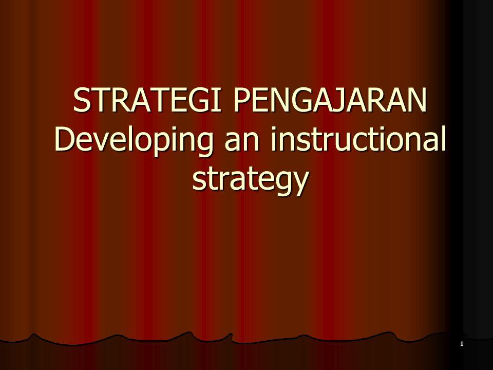 Supplantive Strategies Supplantive Strategies (Pengajaran memberikan …)Isi Menstimulir ingatan pengetahuan sebelumnya Presentasi informasi dan contoh Mendapat dan mengarahkan perhatian Membimbing penggunaan strategi belajar Mengeluarkan jawaban Memberi umpan balik