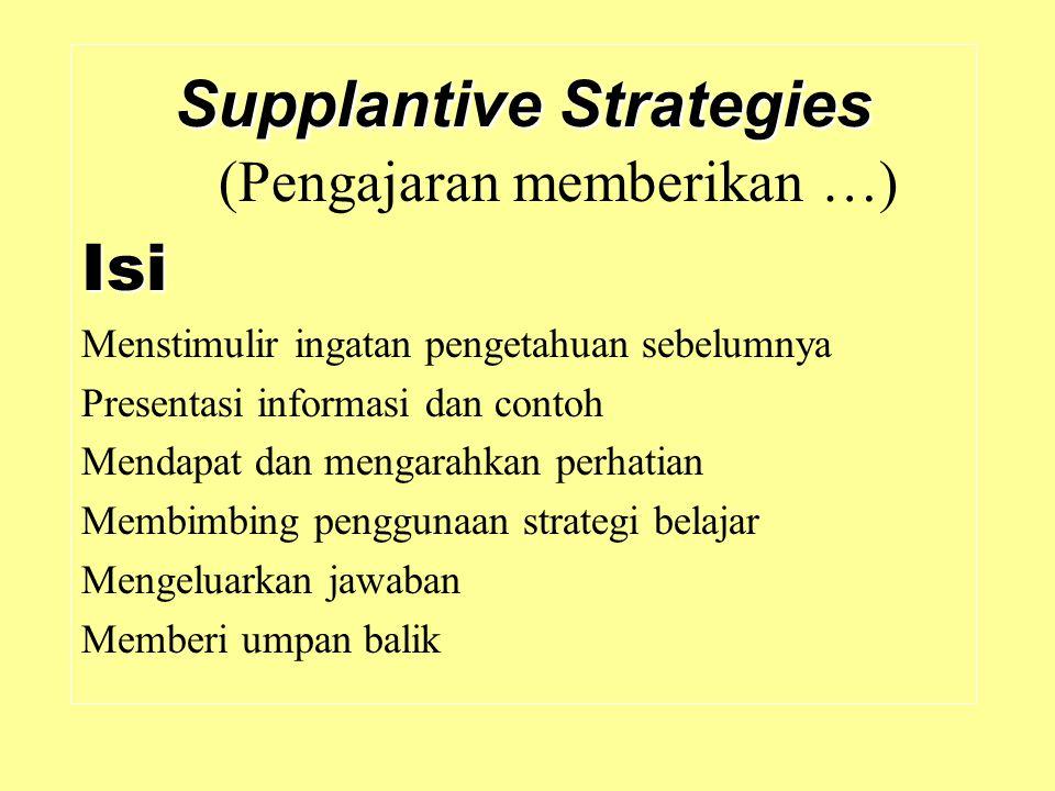 Supplantive Strategies Supplantive Strategies (Pengajaran memberikan …)Isi Menstimulir ingatan pengetahuan sebelumnya Presentasi informasi dan contoh