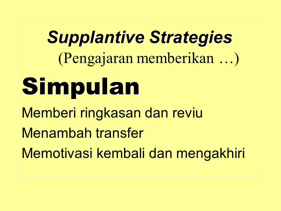 Supplantive Strategies Supplantive Strategies (Pengajaran memberikan …)Simpulan Memberi ringkasan dan reviu Menambah transfer Memotivasi kembali dan m