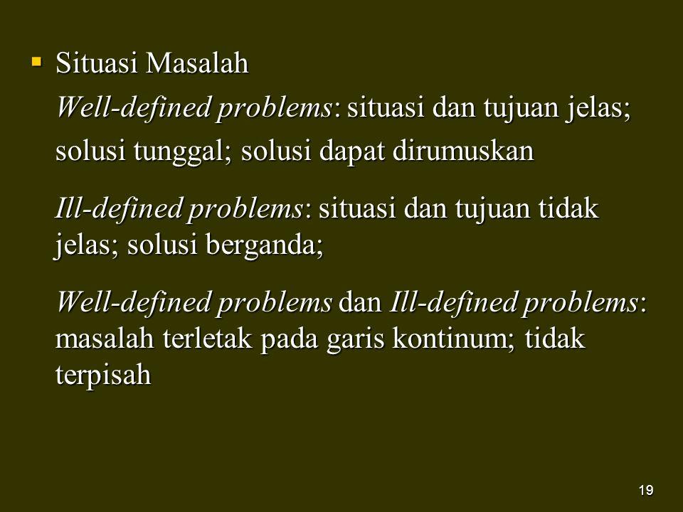 19  Situasi Masalah Well-defined problems: situasi dan tujuan jelas; solusi tunggal; solusi dapat dirumuskan Ill-defined problems: situasi dan tujuan
