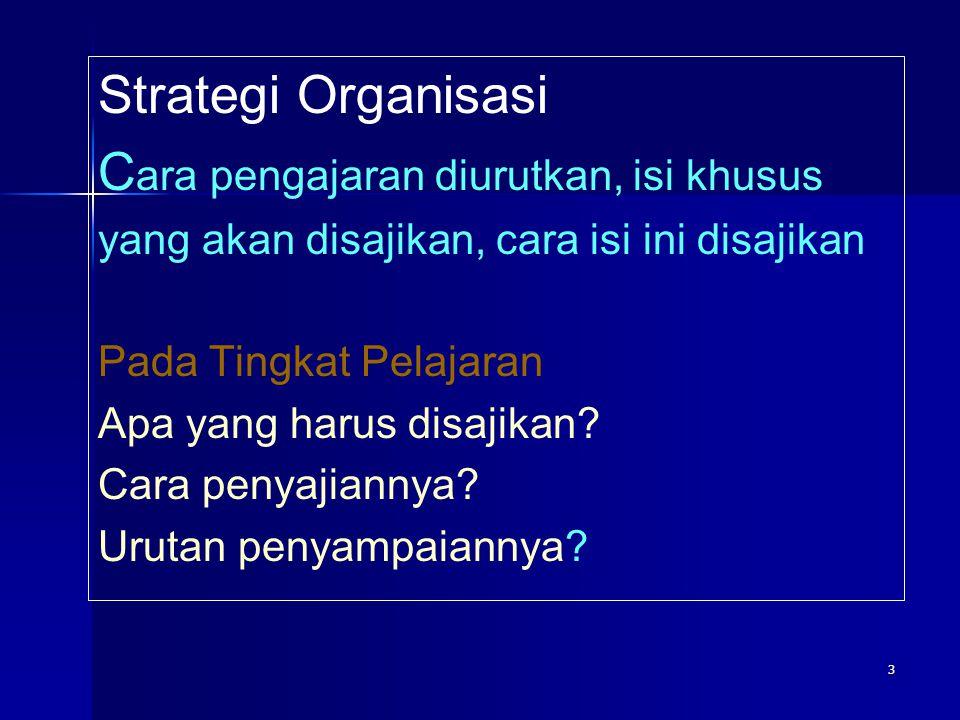 3 Strategi Organisasi C ara pengajaran diurutkan, isi khusus yang akan disajikan, cara isi ini disajikan Pada Tingkat Pelajaran Apa yang harus disajik