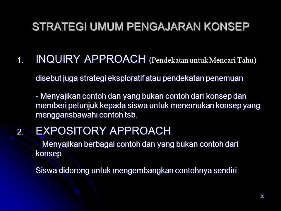 30 STRATEGI UMUM PENGAJARAN KONSEP 1. INQUIRY APPROACH ( 1. INQUIRY APPROACH ( Pendekatan untuk Mencari Tahu) disebut juga strategi eksploratif atau p
