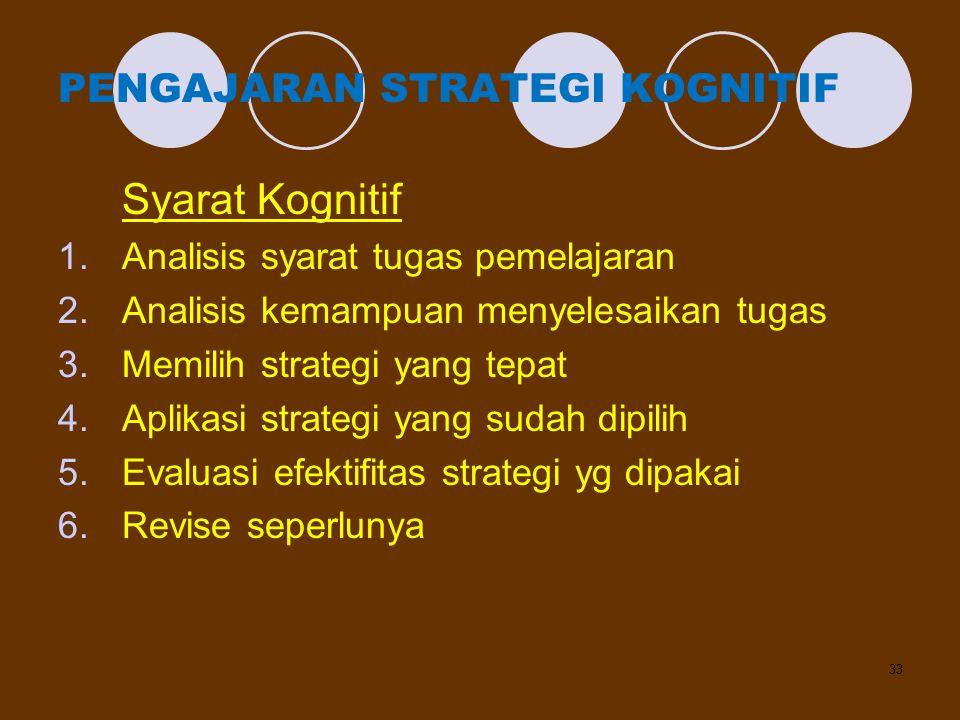 33 PENGAJARAN STRATEGI KOGNITIF Syarat Kognitif 1.Analisis syarat tugas pemelajaran 2.Analisis kemampuan menyelesaikan tugas 3.Memilih strategi yang t