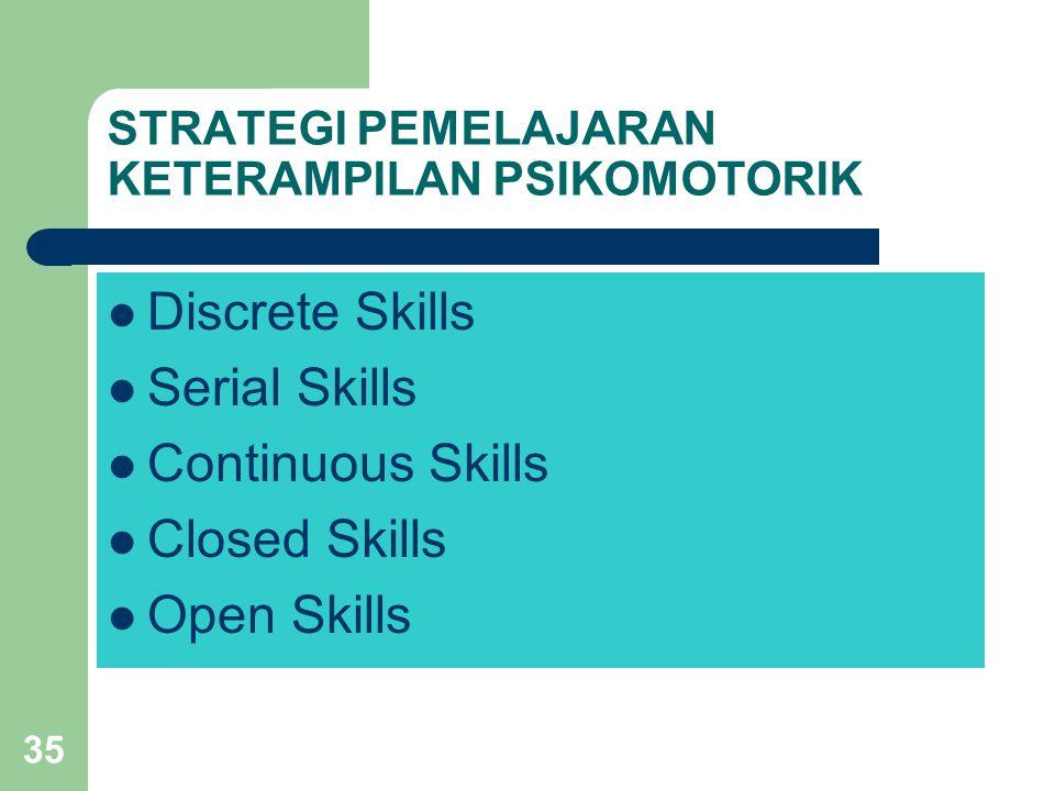 35 STRATEGI PEMELAJARAN KETERAMPILAN PSIKOMOTORIK  Discrete Skills  Serial Skills  Continuous Skills  Closed Skills  Open Skills