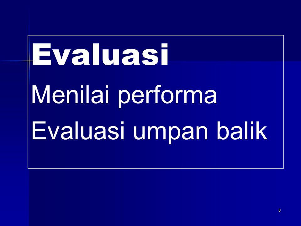 8 Evaluasi Menilai performa Evaluasi umpan balik