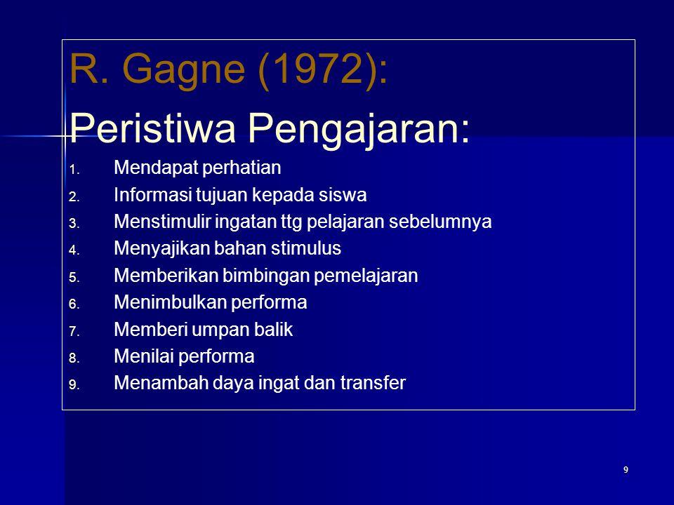 9 R. Gagne (1972): Peristiwa Pengajaran: 1. 1. Mendapat perhatian 2. 2. Informasi tujuan kepada siswa 3. 3. Menstimulir ingatan ttg pelajaran sebelumn