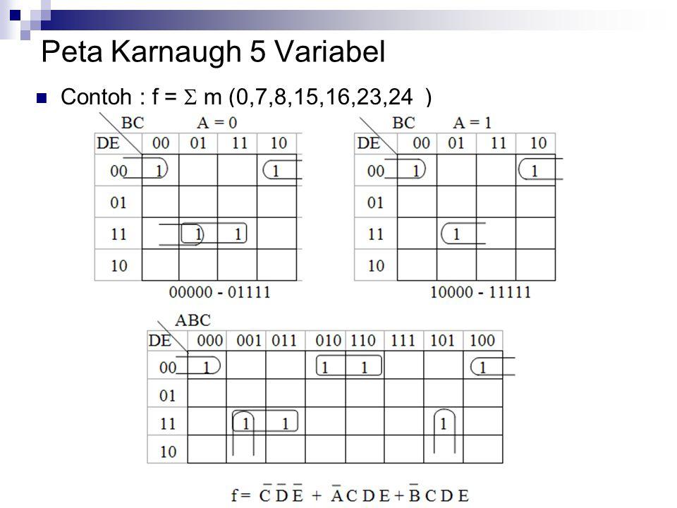 Peta Karnaugh 5 Variabel  Contoh : f =  m (0,7,8,15,16,23,24 )