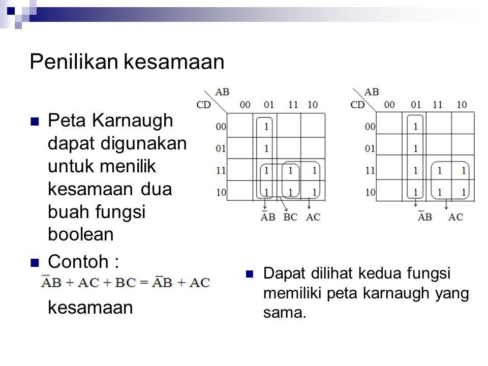 Penilikan kesamaan  Peta Karnaugh dapat digunakan untuk menilik kesamaan dua buah fungsi boolean  Contoh : Buktikan kesamaan  Dapat dilihat kedua f