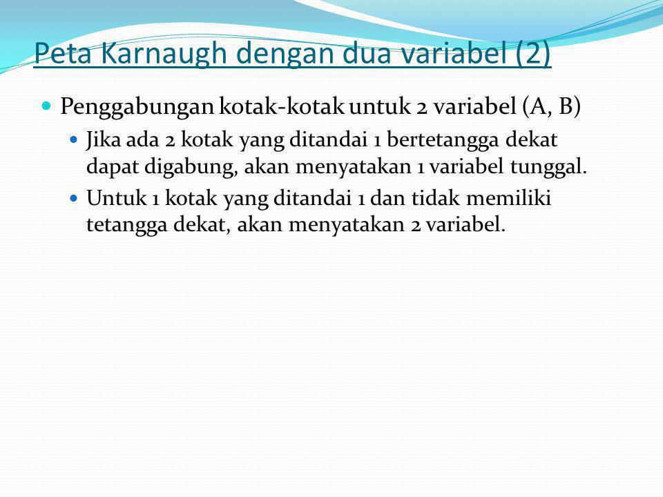 Peta Karnaugh dengan dua variabel (2)  Penggabungan kotak-kotak untuk 2 variabel (A, B)  Jika ada 2 kotak yang ditandai 1 bertetangga dekat dapat digabung, akan menyatakan 1 variabel tunggal.