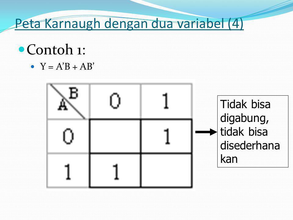 Peta Karnaugh dengan dua variabel (4)  Contoh 1:  Y = A'B + AB' Tidak bisa digabung, tidak bisa disederhana kan