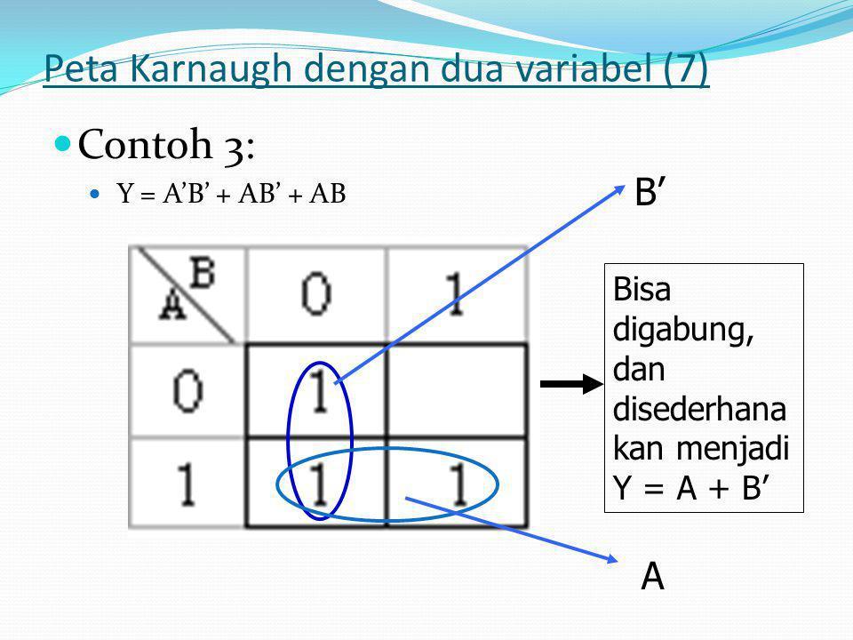 Peta Karnaugh dengan dua variabel (7)  Contoh 3:  Y = A'B' + AB' + AB Bisa digabung, dan disederhana kan menjadi Y = A + B' A B'