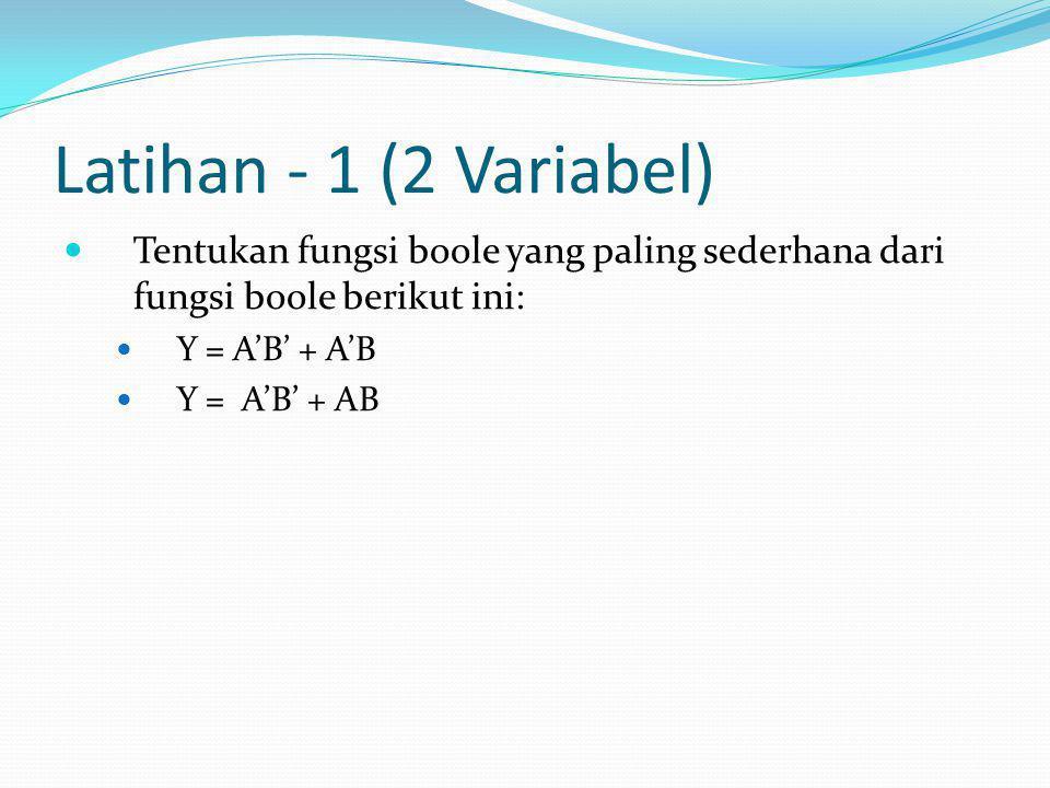 Latihan - 1 (2 Variabel)  Tentukan fungsi boole yang paling sederhana dari fungsi boole berikut ini:  Y = A'B' + A'B  Y = A'B' + AB