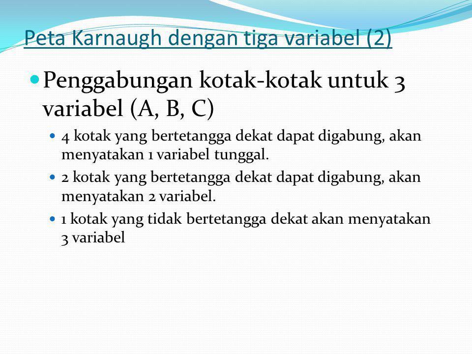 Peta Karnaugh dengan tiga variabel (2)  Penggabungan kotak-kotak untuk 3 variabel (A, B, C)  4 kotak yang bertetangga dekat dapat digabung, akan men
