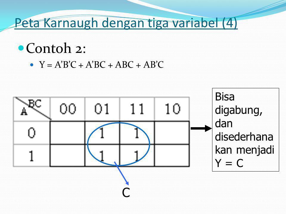Peta Karnaugh dengan tiga variabel (4)  Contoh 2:  Y = A'B'C + A'BC + ABC + AB'C Bisa digabung, dan disederhana kan menjadi Y = C C