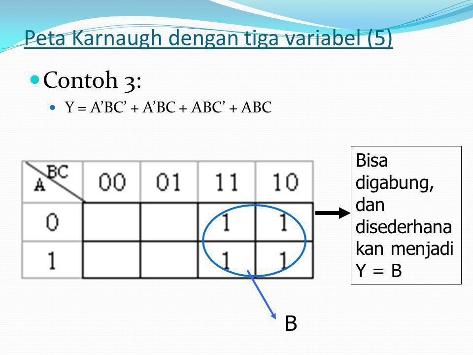Peta Karnaugh dengan tiga variabel (5)  Contoh 3:  Y = A'BC' + A'BC + ABC' + ABC Bisa digabung, dan disederhana kan menjadi Y = B B