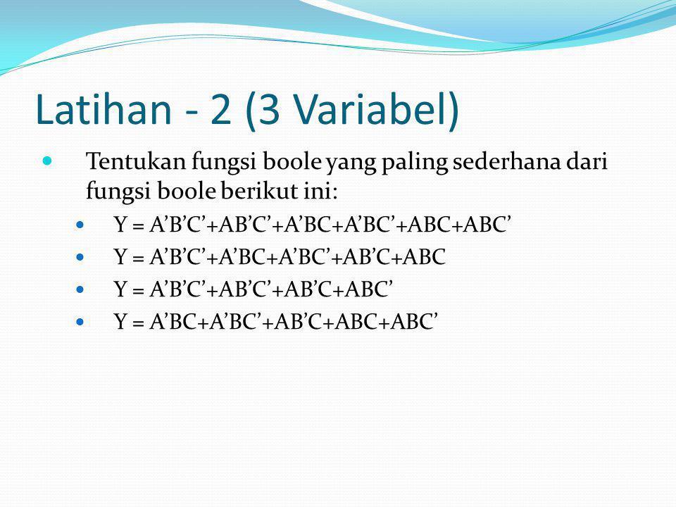 Latihan - 2 (3 Variabel)  Tentukan fungsi boole yang paling sederhana dari fungsi boole berikut ini:  Y = A'B'C'+AB'C'+A'BC+A'BC'+ABC+ABC'  Y = A'B'C'+A'BC+A'BC'+AB'C+ABC  Y = A'B'C'+AB'C'+AB'C+ABC'  Y = A'BC+A'BC'+AB'C+ABC+ABC'