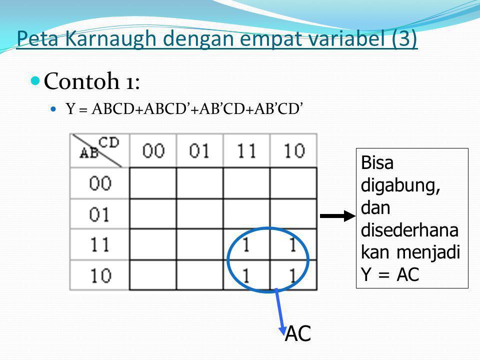 Peta Karnaugh dengan empat variabel (3)  Contoh 1:  Y = ABCD+ABCD'+AB'CD+AB'CD' Bisa digabung, dan disederhana kan menjadi Y = AC AC