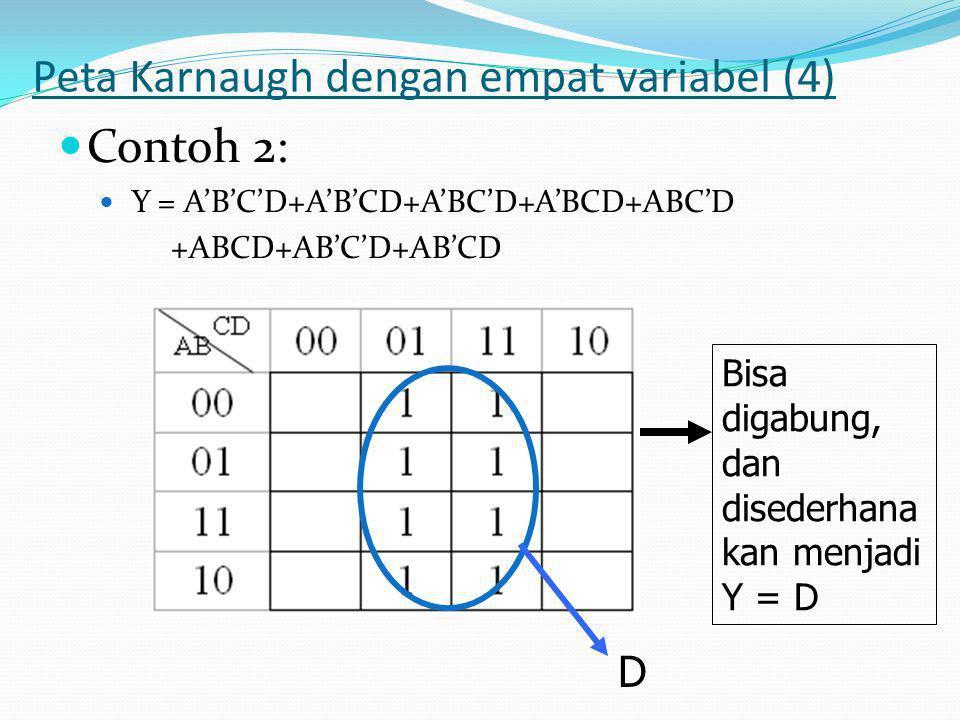 Peta Karnaugh dengan empat variabel (4)  Contoh 2:  Y = A'B'C'D+A'B'CD+A'BC'D+A'BCD+ABC'D +ABCD+AB'C'D+AB'CD Bisa digabung, dan disederhana kan menjadi Y = D D