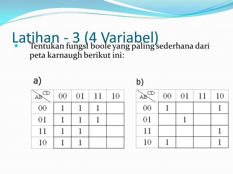 Latihan - 3 (4 Variabel)  Tentukan fungsi boole yang paling sederhana dari peta karnaugh berikut ini: a) b)