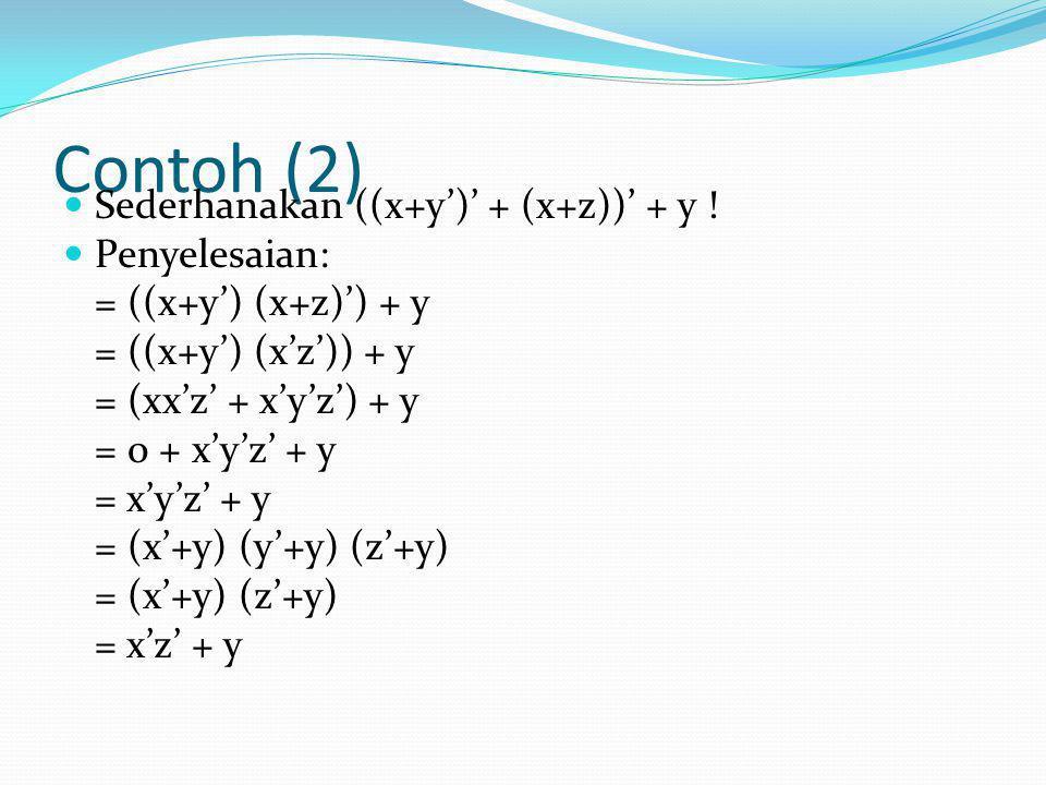 Contoh (2)  Sederhanakan ((x+y')' + (x+z))' + y !  Penyelesaian: = ((x+y') (x+z)') + y = ((x+y') (x'z')) + y = (xx'z' + x'y'z') + y = 0 + x'y'z' + y