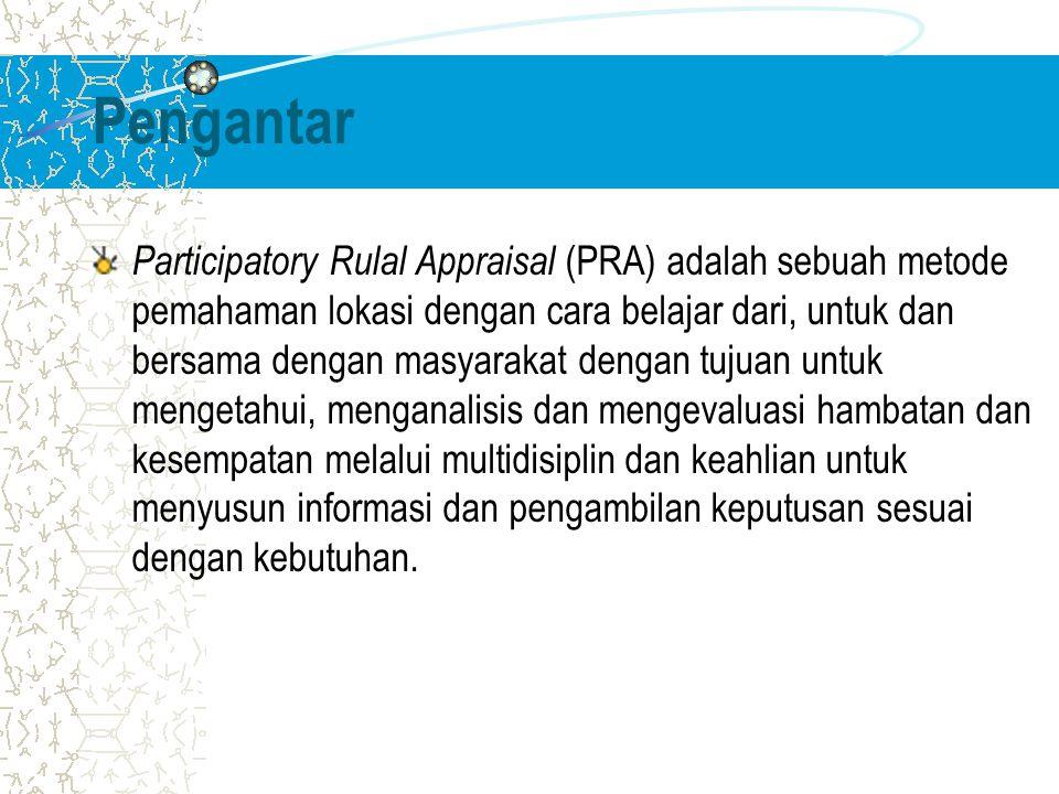 Pengantar Participatory Rulal Appraisal (PRA) adalah sebuah metode pemahaman lokasi dengan cara belajar dari, untuk dan bersama dengan masyarakat dengan tujuan untuk mengetahui, menganalisis dan mengevaluasi hambatan dan kesempatan melalui multidisiplin dan keahlian untuk menyusun informasi dan pengambilan keputusan sesuai dengan kebutuhan.